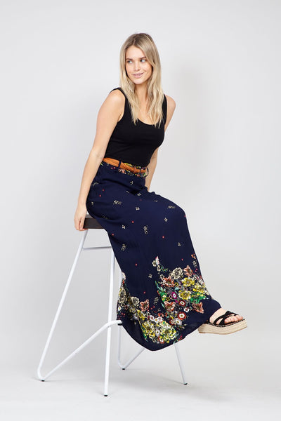 Navy | Botanical Print Maxi Skirt | Izabel London