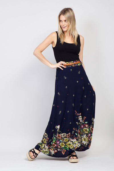 | Botanical Print Maxi Skirt | Izabel London