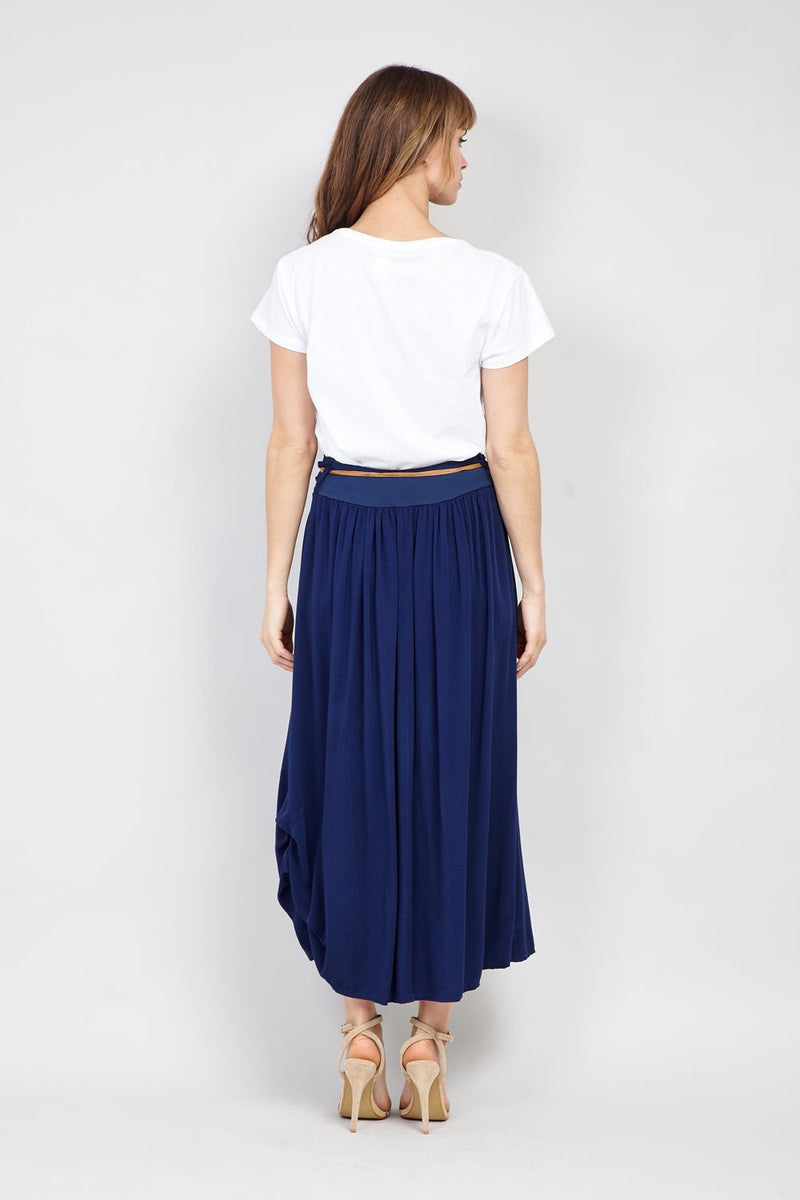 Navy | Pleated Midi Skirt With Belt