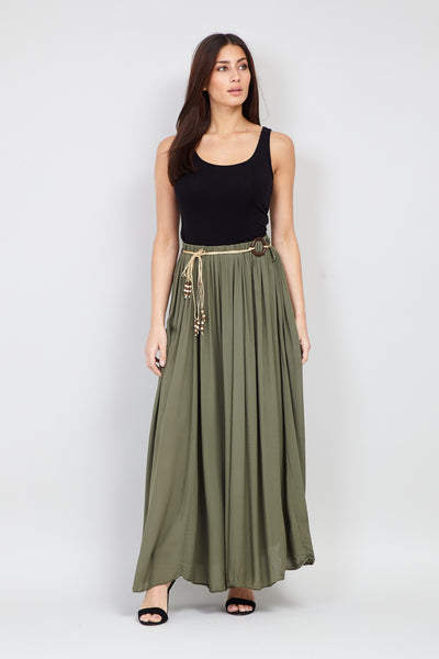 Khaki | Tie Belt Maxi Skirt | Izabel London