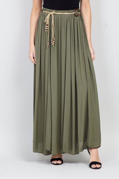 | Tie Belt Maxi Skirt | Izabel London