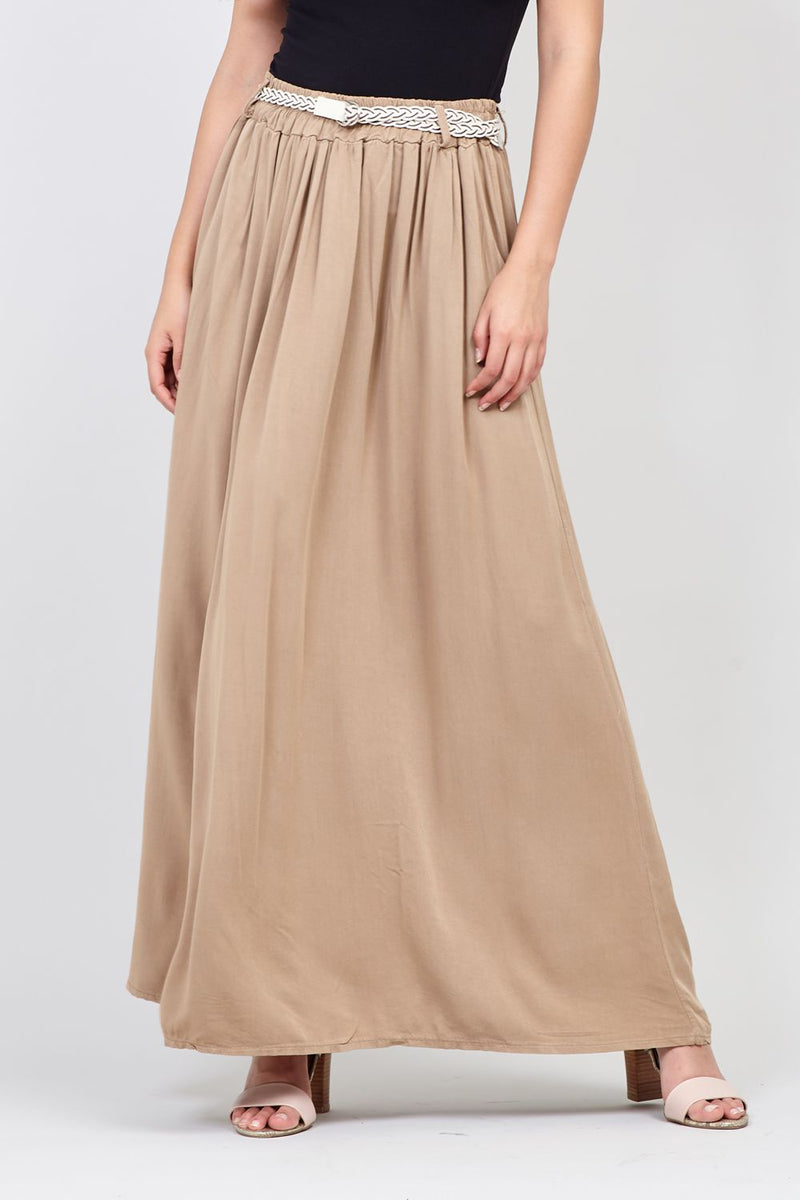 Beige | Belted A-Line Maxi Skirt
