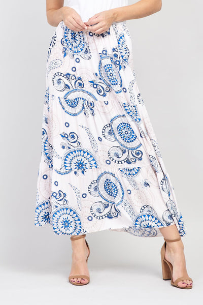 | Eastern Print A-Line Maxi Skirt | Izabel London