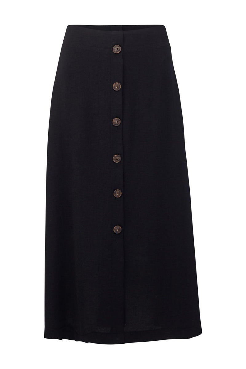 Black | Button Front Midi Skirt
