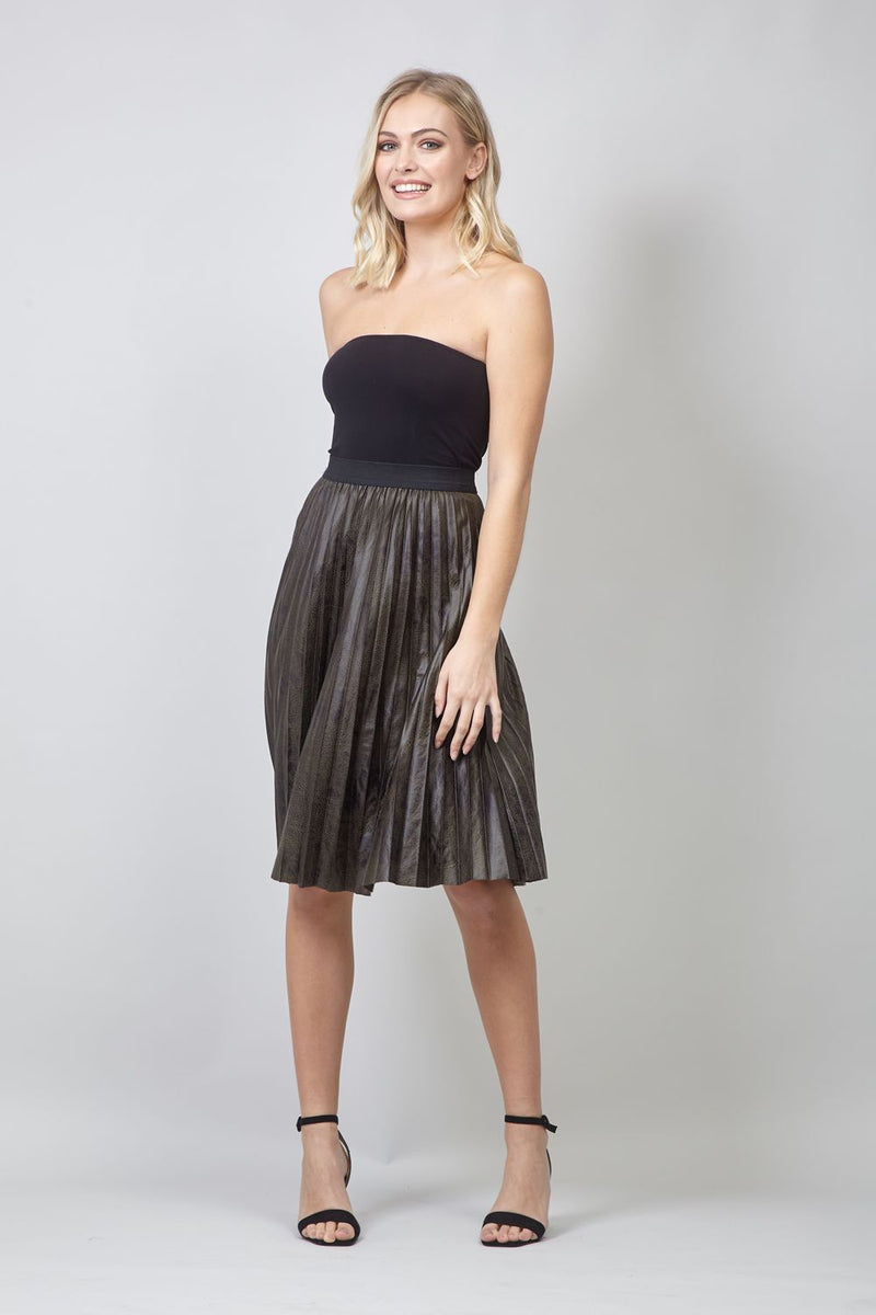 Green | Animal Print Pleated Skirt