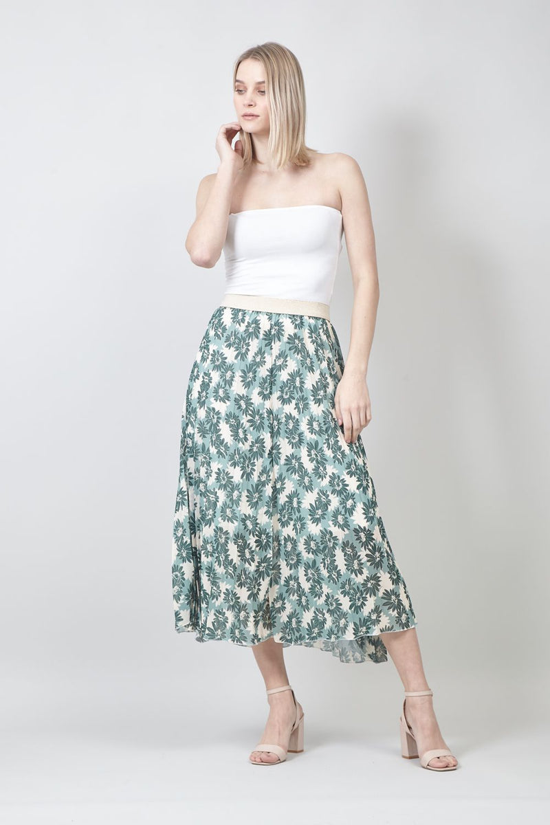 Green | Floral A-Line Pleated Midi Skirt