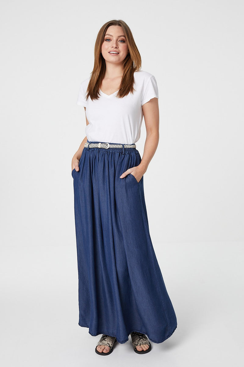 Blue | A-Line Maxi Skirt with Belt