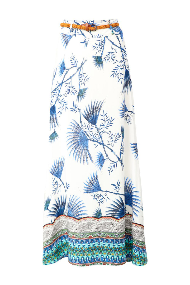 White | Border Print Maxi Skirt
