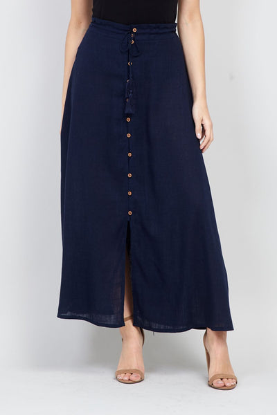 Button Front Maxi Skirt - Izabel London