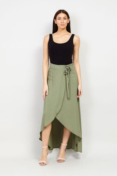 Green | Wrap Maxi Skirt | Izabel London