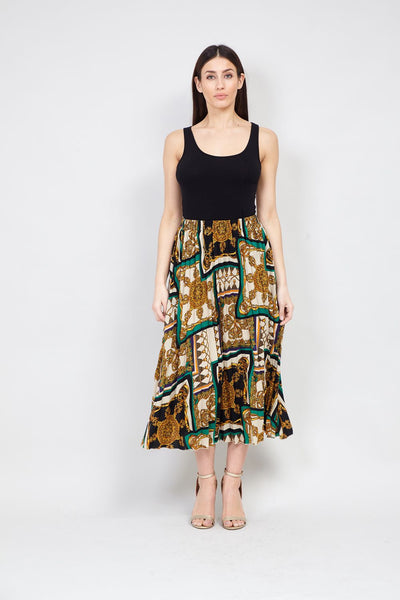 | Scarf Print Midi Skirt | Izabel London