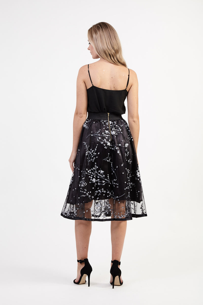 740660f1313 Floral & Mesh Midi Skirt | Izabel London