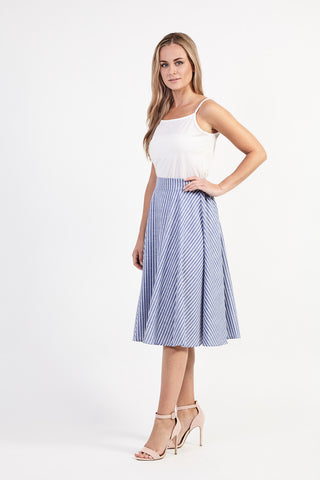 d31591e90f0 Blue Striped Fit   Flare Skirt