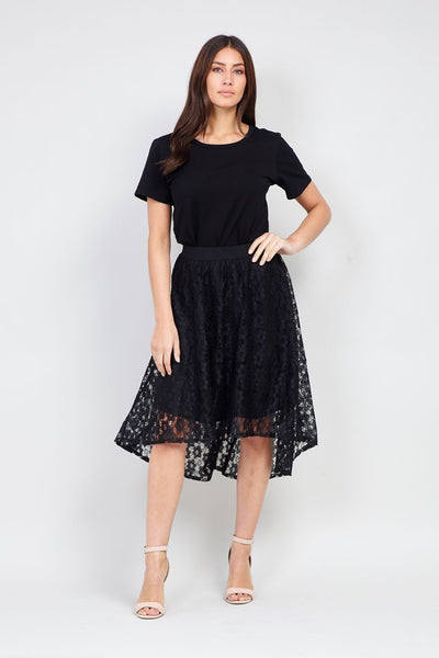 Black | Lace Asymmetric Skirt | Izabel London