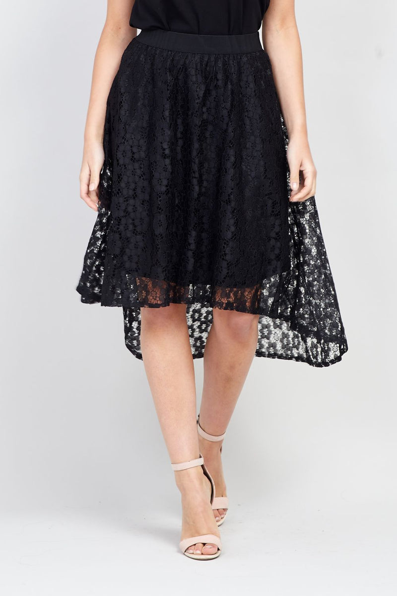 Black | Lace Asymmetric Skirt