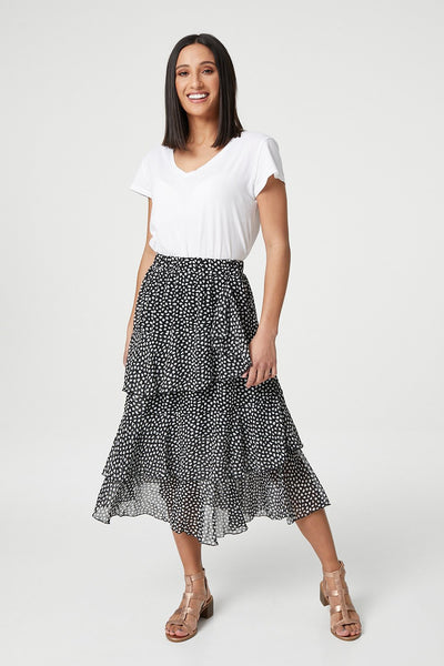 Black | Polka Dot  Layered Midi Skirt | Izabel London