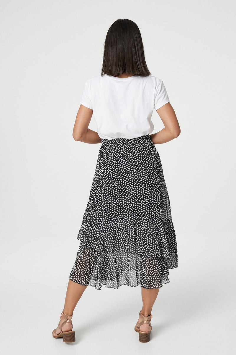 Black | Polka Dot  Layered Midi Skirt