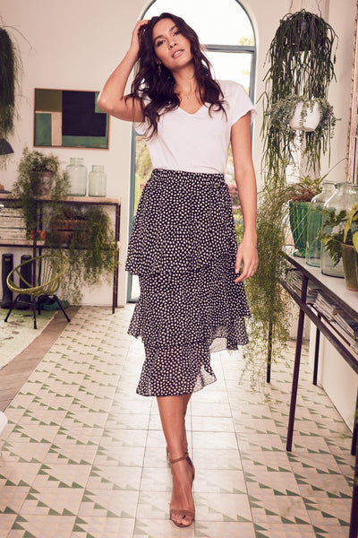 | Polka Dot  Layered Midi Skirt | Izabel London
