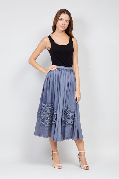 Navy | Fit & Flare Midi Skirt | Izabel London