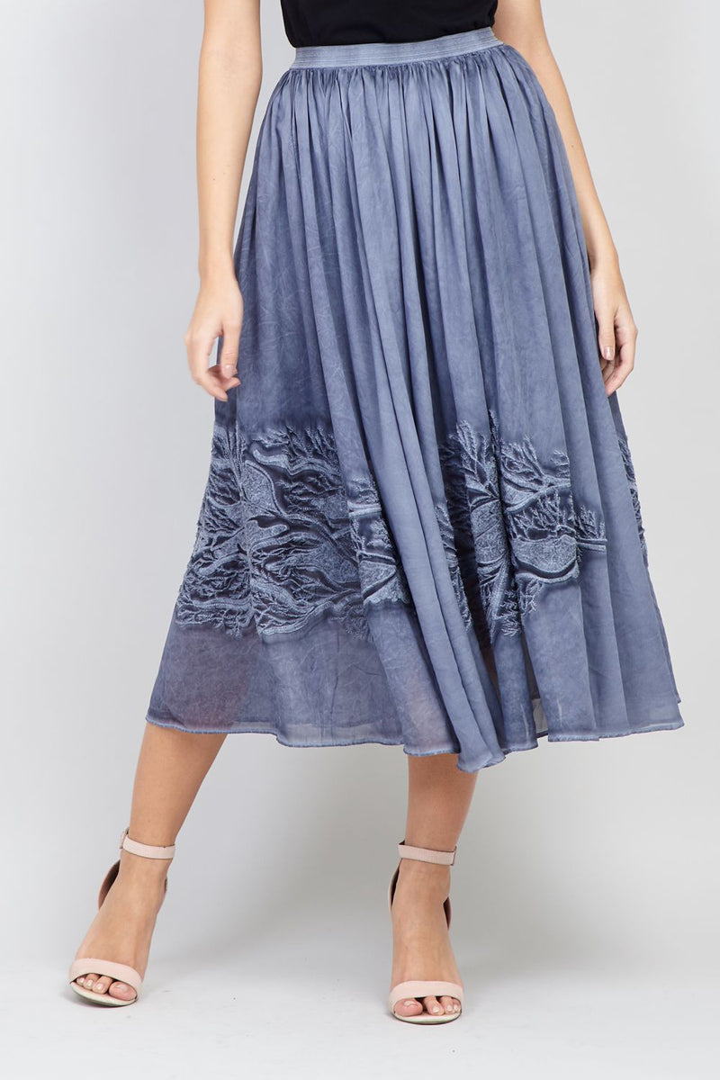 Navy | Fit & Flare Midi Skirt