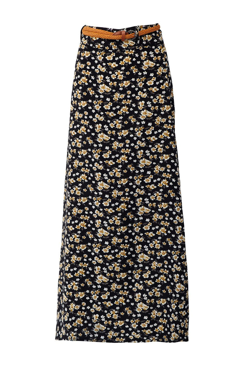 Black | Ditsy Floral Maxi Skirt