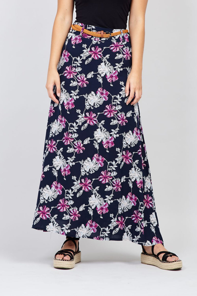 Navy | Floral Bloom Maxi Skirt
