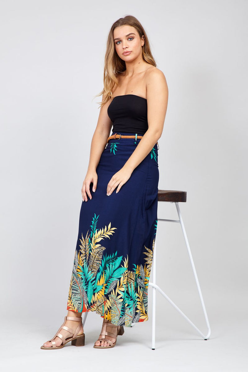 Navy | Leaf Print A-Line Skirt With Belt