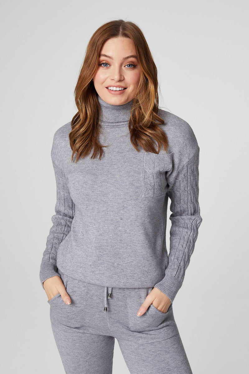 Grey | High Neck Ribbed Knit Loungewear Set