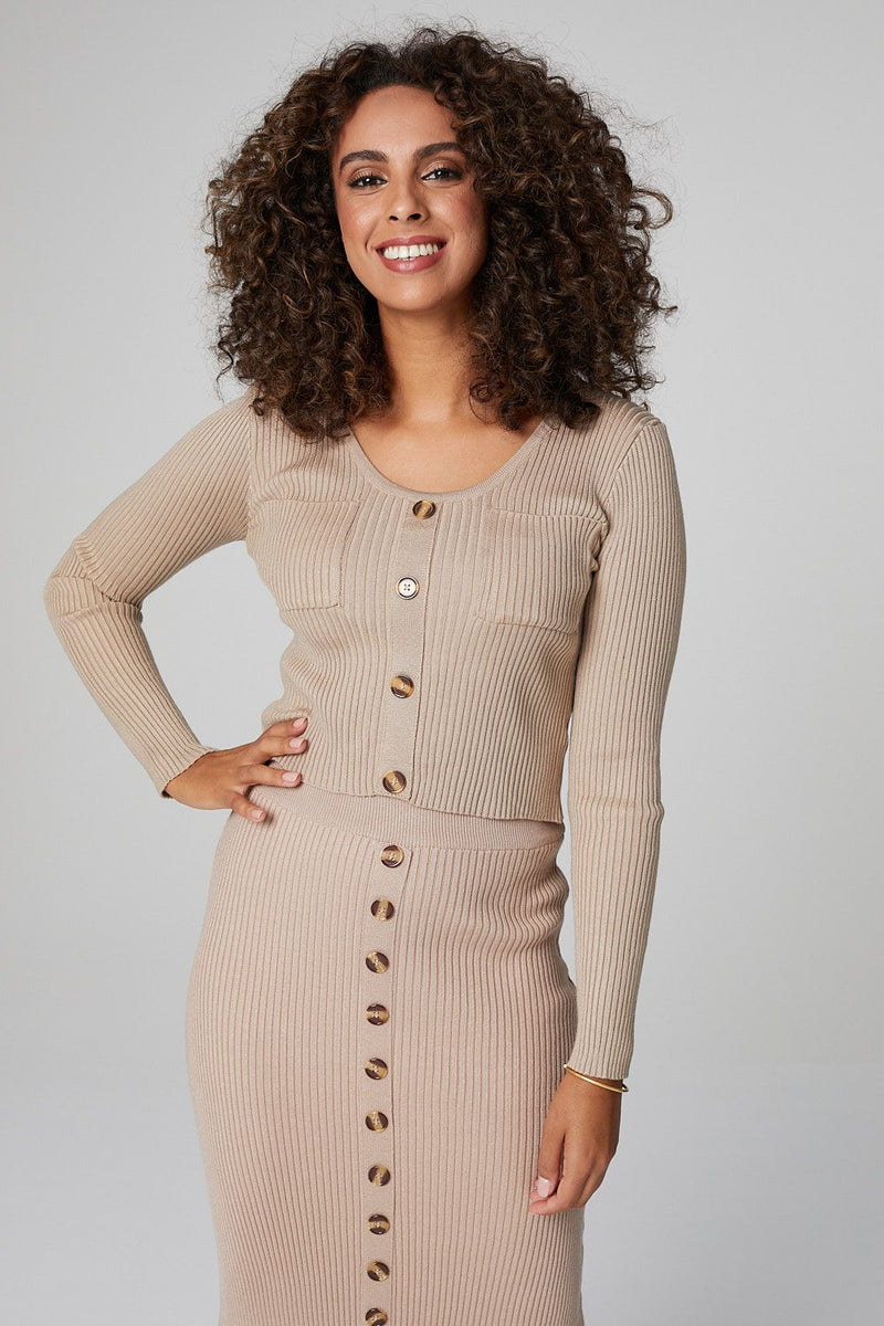 Beige | Button Front Cardigan & Midi Skirt Set