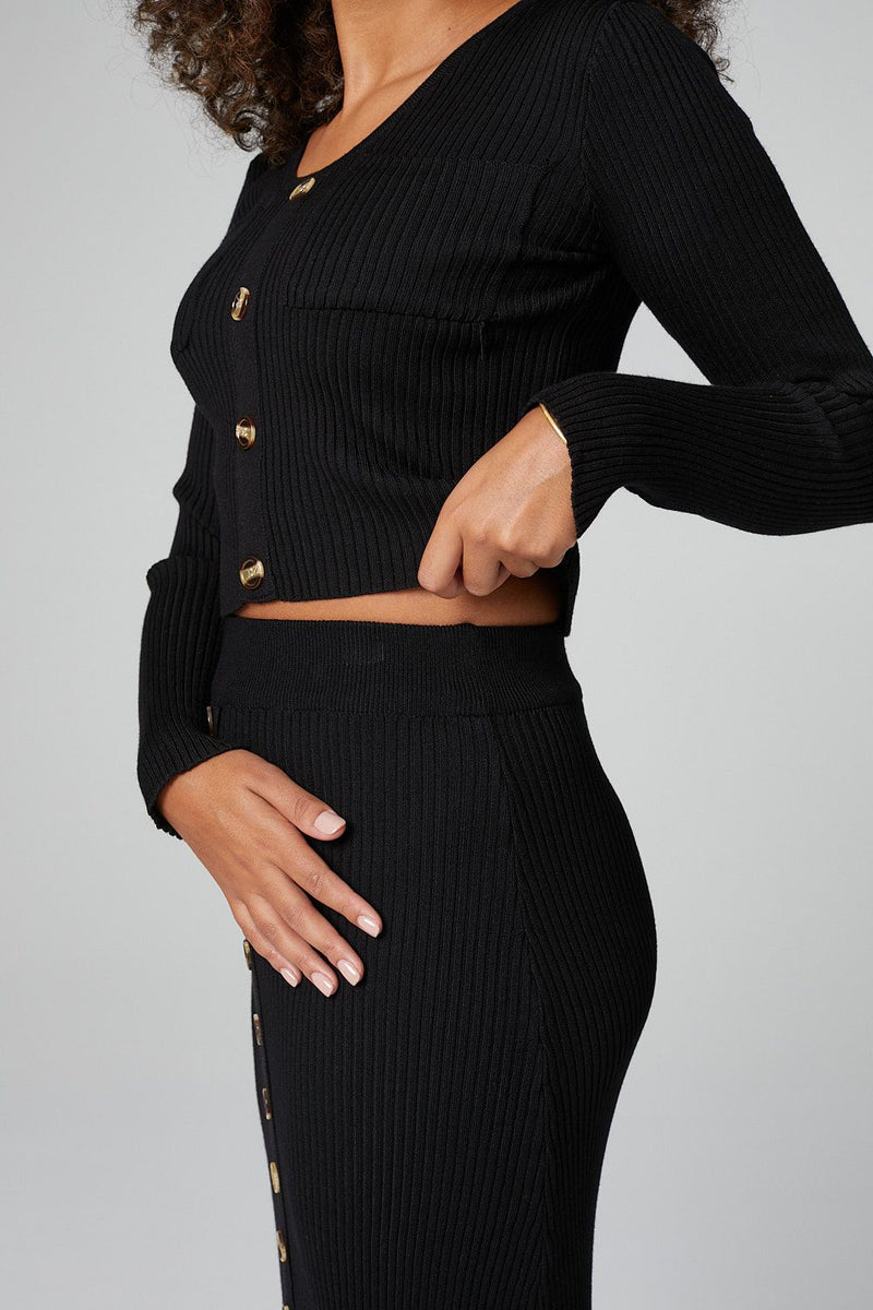 Black | Button Front Cardigan & Midi Skirt Set