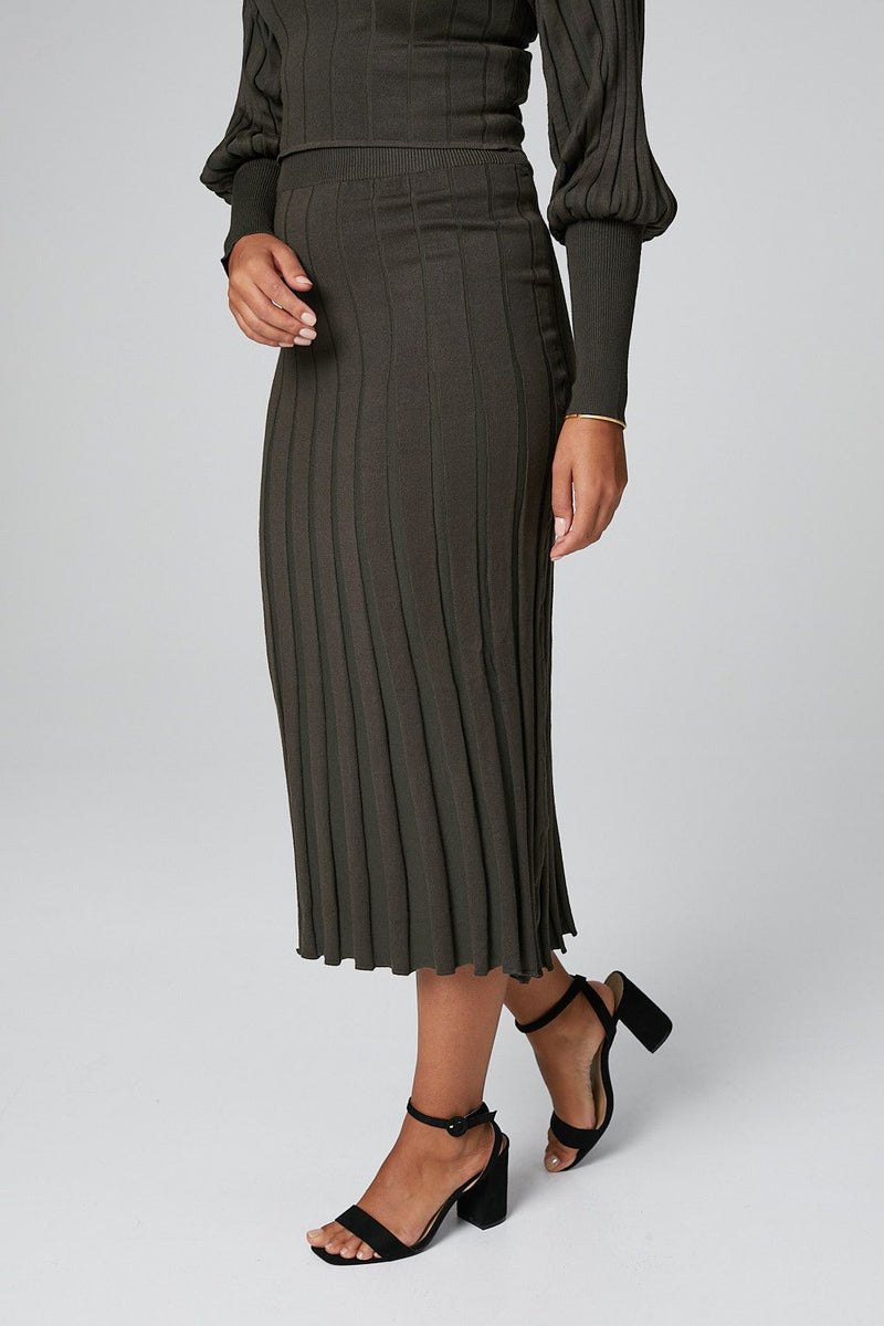 Khaki | Striped Puff Sleeve Crop Top & Midi Skirt Set