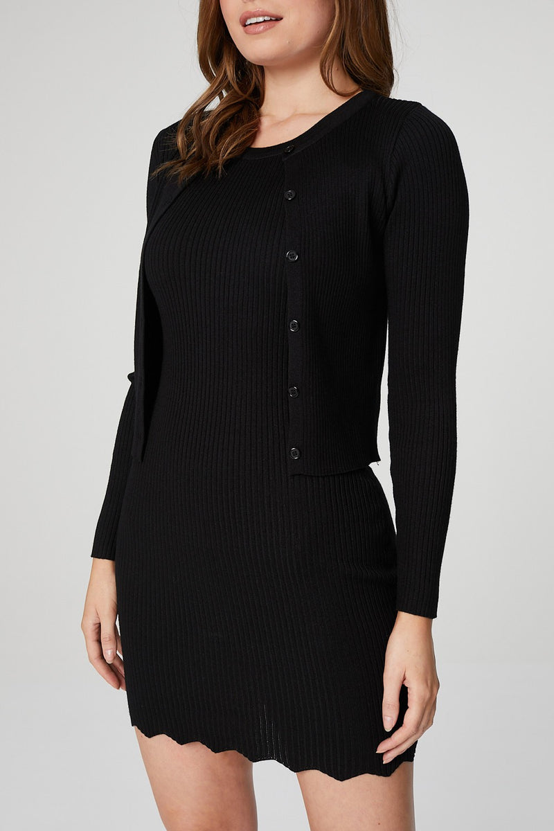 Black | Button Front Cardigan & Bodycon Dress Set