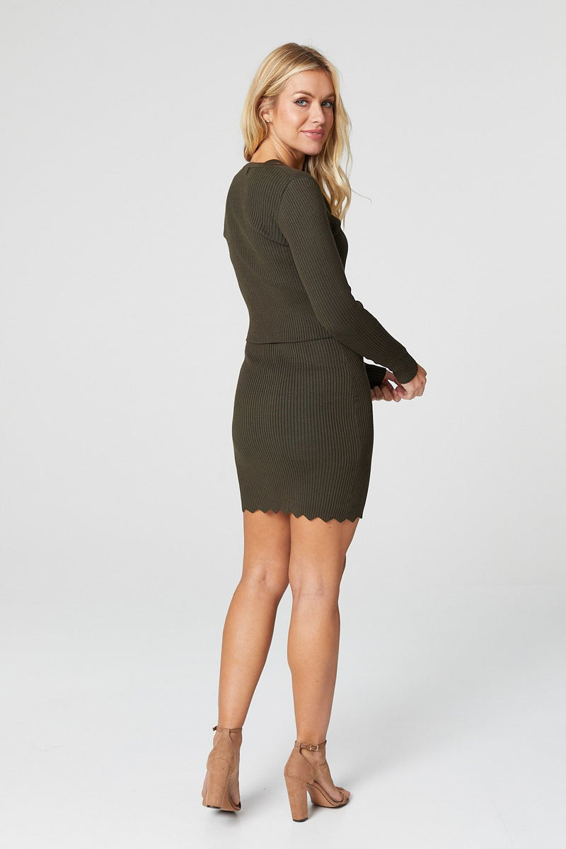 Khaki | Button Front Cardigan & Bodycon Dress Set