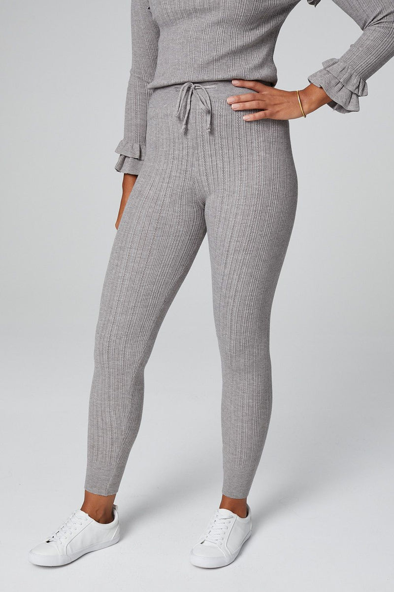 Grey | Ribbed Knit Long Sleeve Loungewear Set