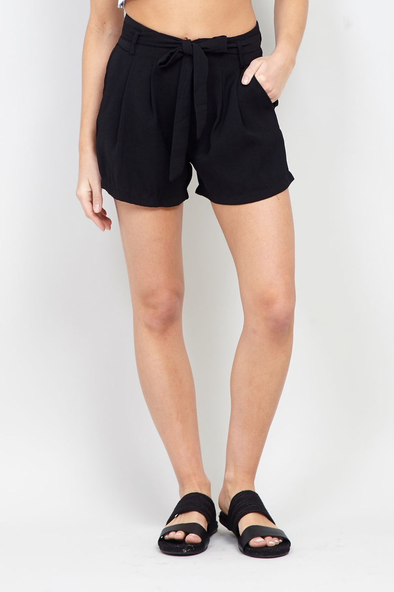 Black | High Waisted Tie Front Shorts