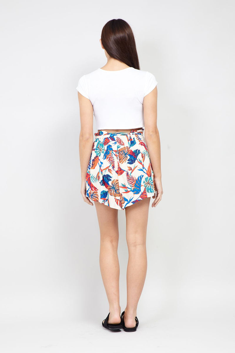 Beige | Tropical Print Tie Waist Shorts