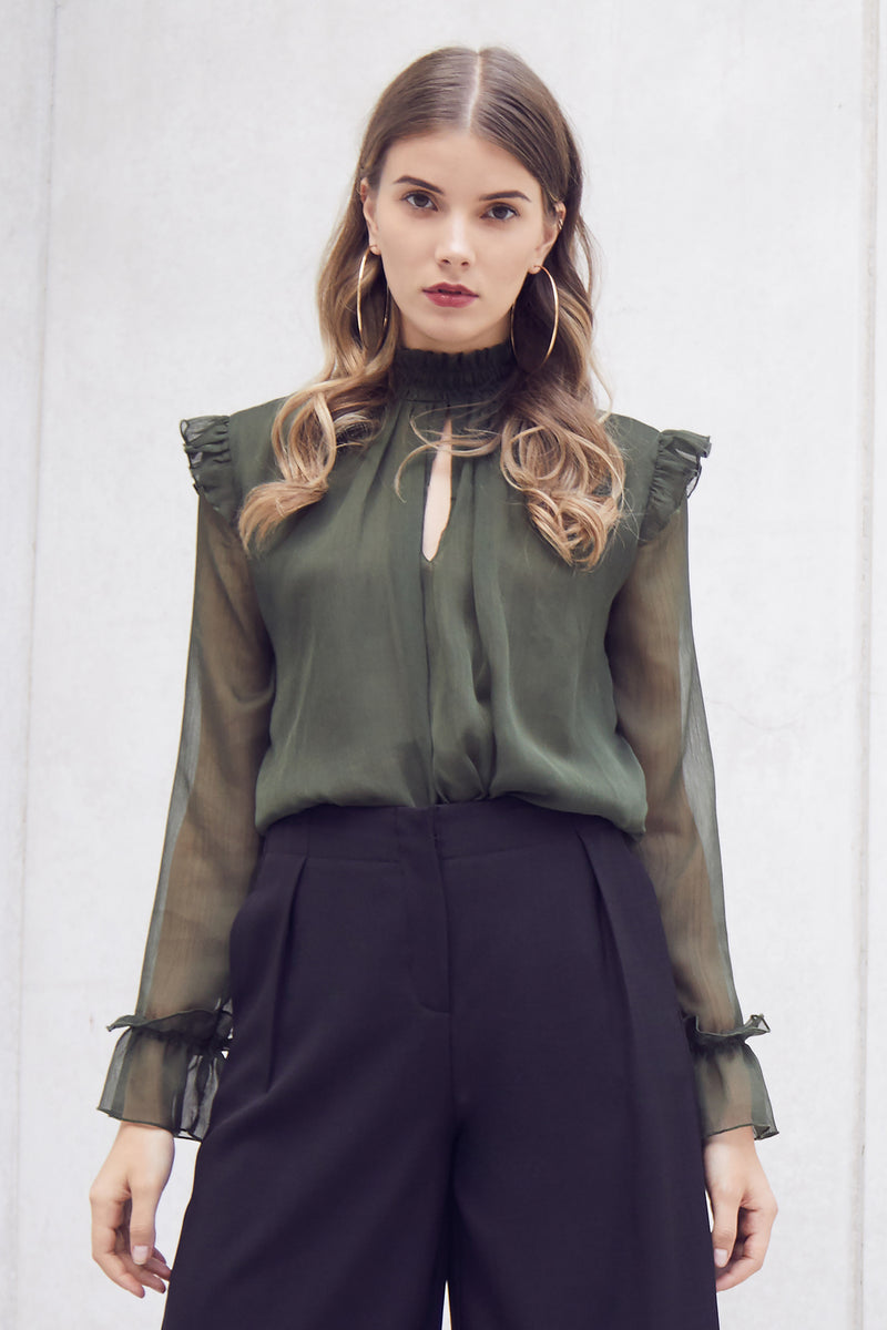 Green | Frill Sleeve Sheer Blouse