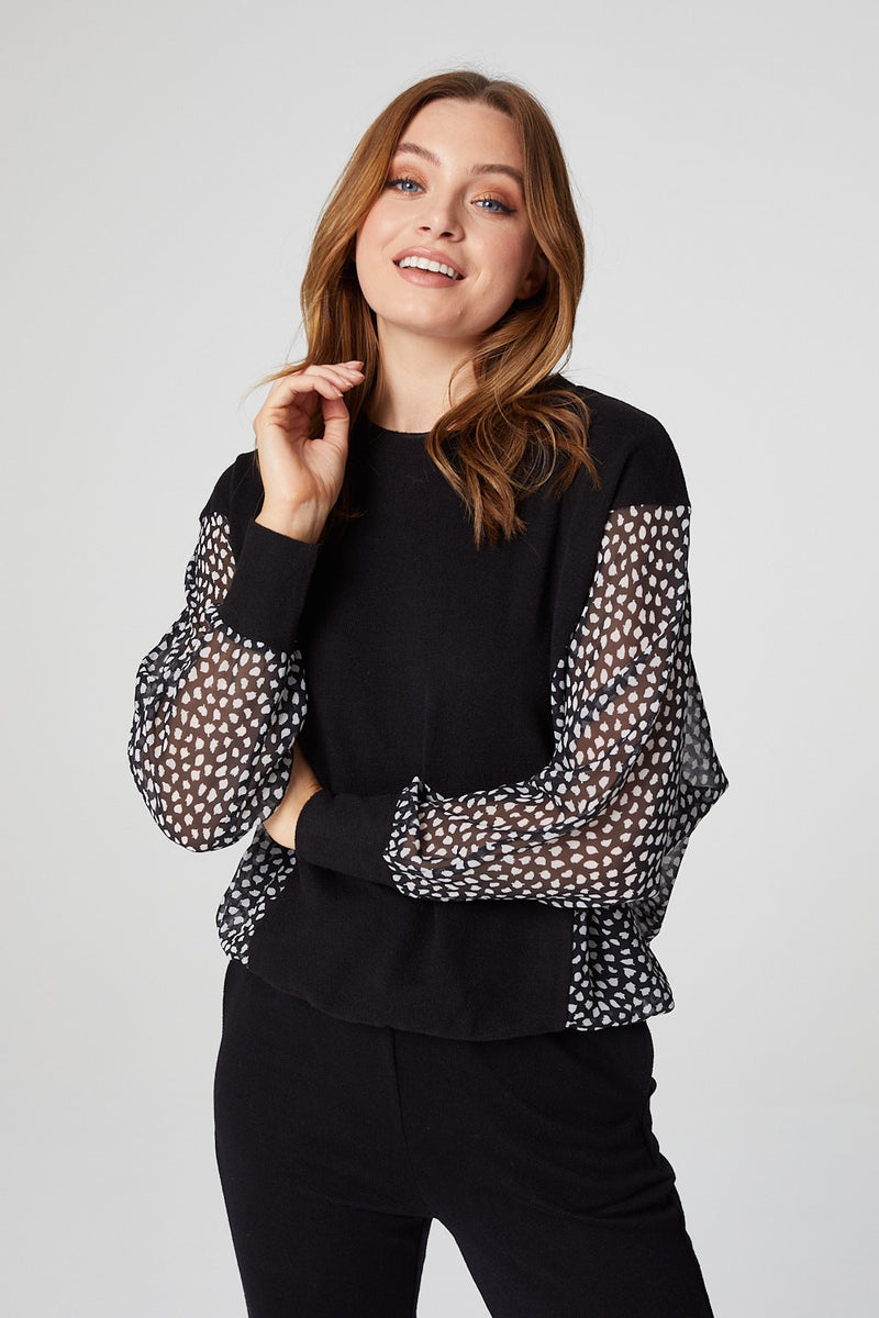 Black | Polka Dot Panel Loungewear Set