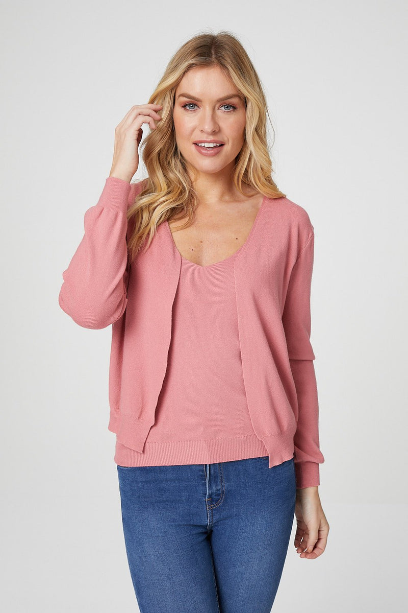 Pink | Open Front Cardigan and Cami Set