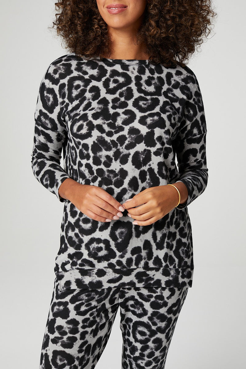 Grey | Leopard Print Relaxed Lounge Set