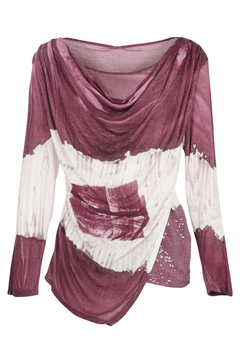 Cowl Neck Tie Dye Top - Izabel London