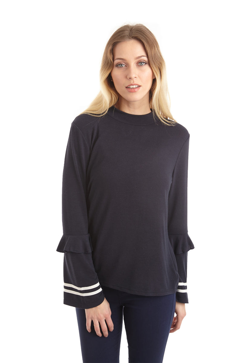 Navy | Ruffle Sleeve Campus Top