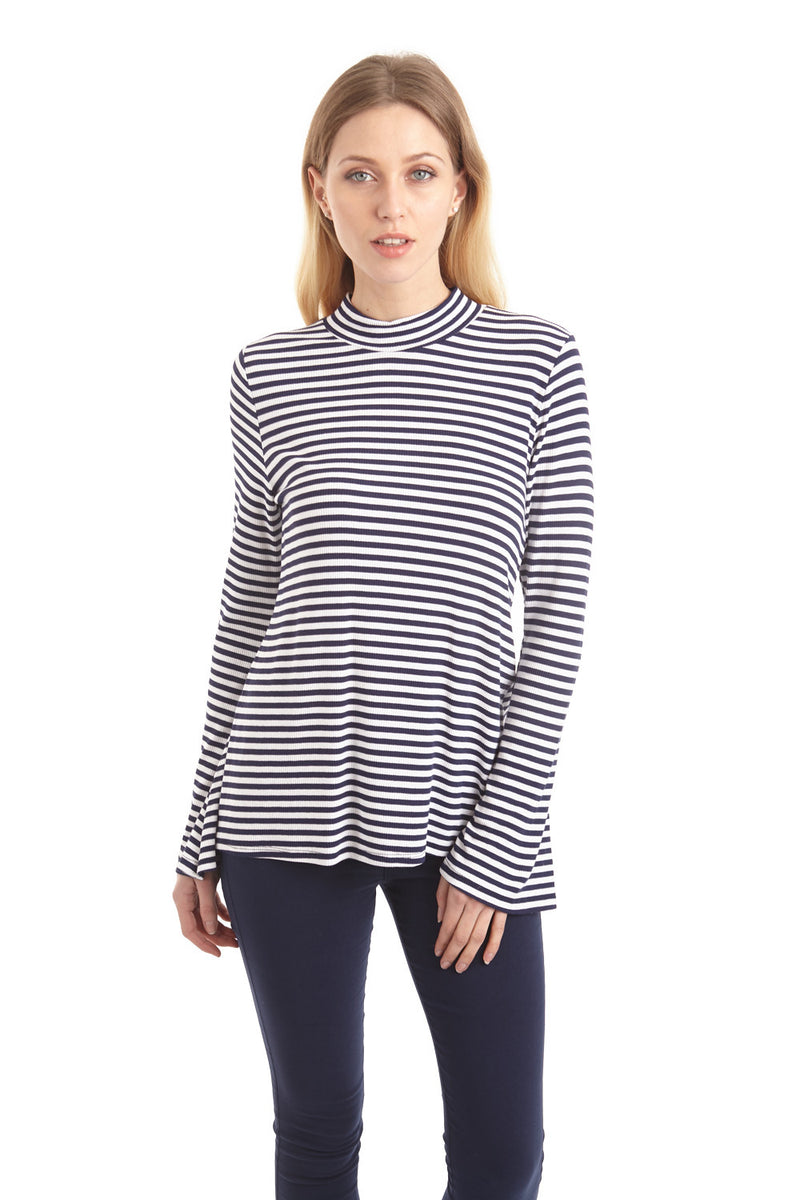 Stripy Flare Sleeve Top - Izabel London