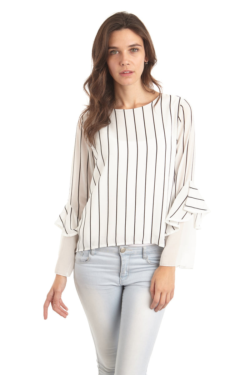 White | Striped Office Top