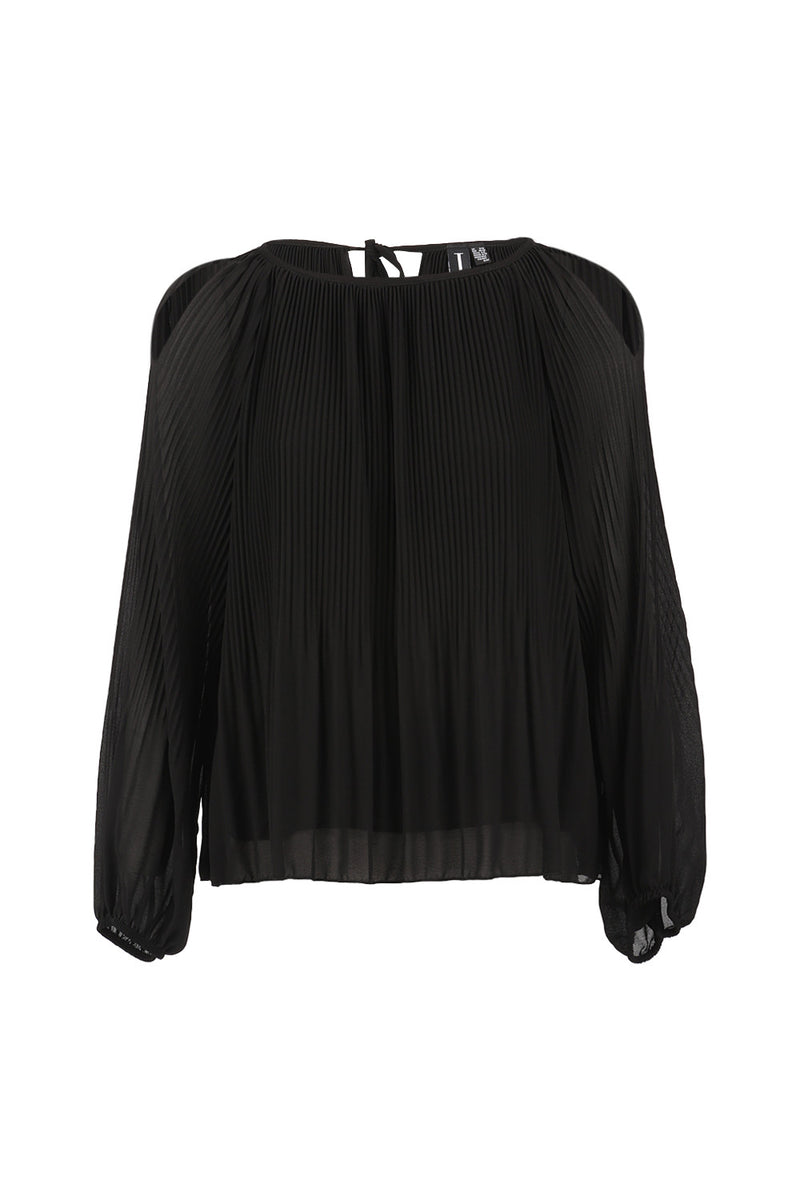 Black | Soft Drape Shoulder Reveal Top