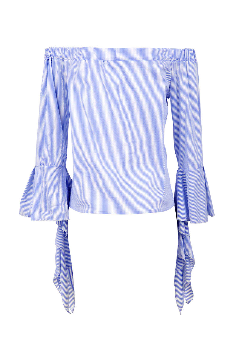 Blue | Off The Shoulder Frill Top