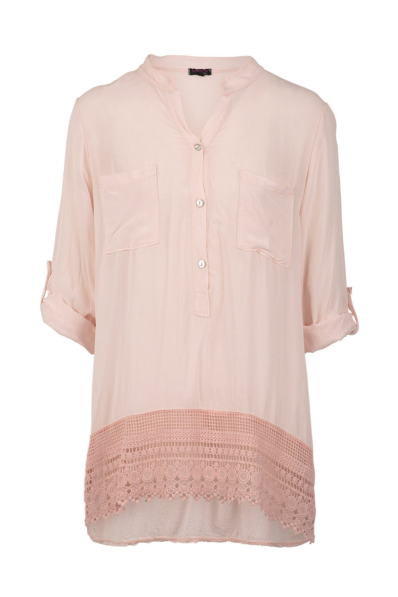 Crochet Hem Granddad Shirt - Izabel London