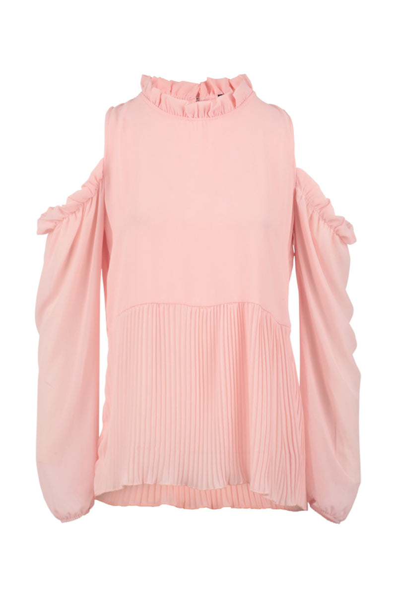 Pink | Frill Detail Cold Shoulder Top | Izabel London