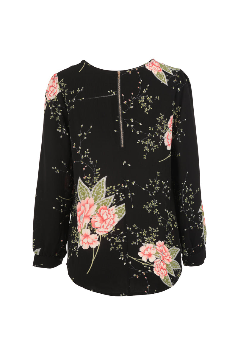 Black | Floral Print Blouse