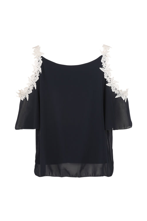 Crochet Trim Blouse - Izabel London
